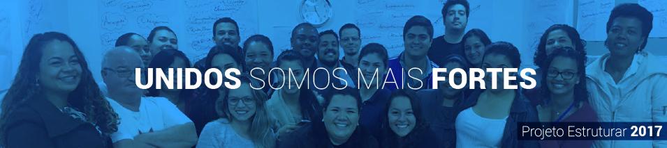 fotos dos membros da equipe que participaram, com um efeito azul e a frase: unidos somos mais fortes